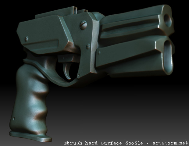 Hard Surface Gun Sculpted in ZBrush