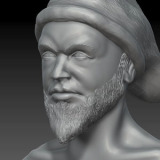 Head sculpture with beard and beanie
