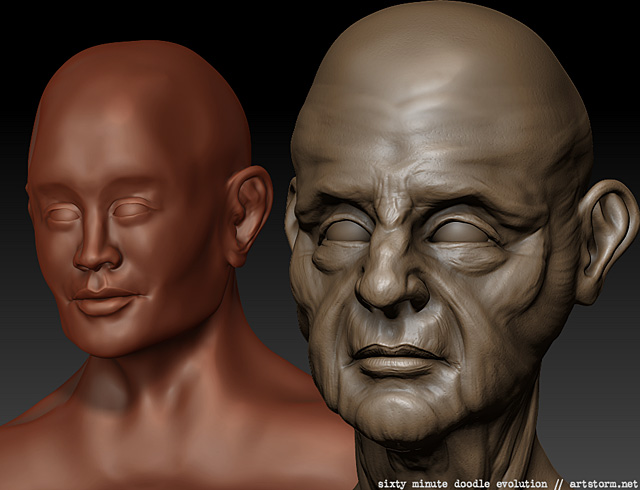 Comparison of two head sculptures