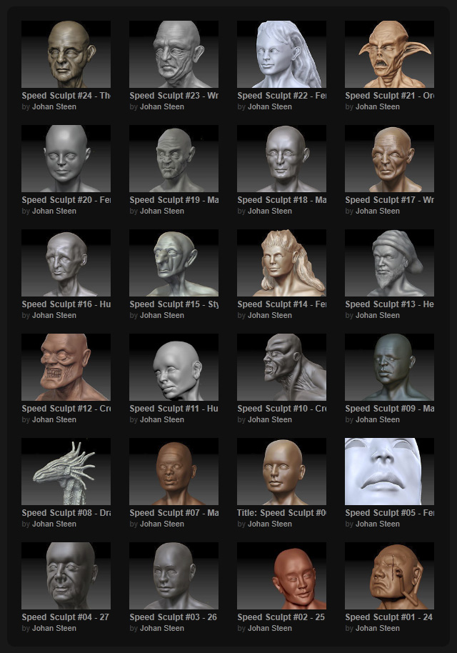 Collection of 24 head sculpts