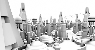 Futuristic City Ambient Occlusion Pass