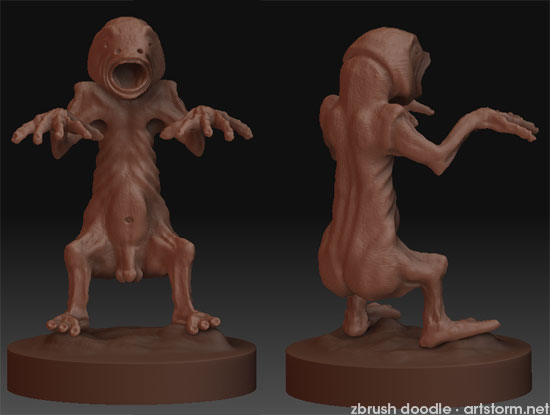Chupacabra ZBrush doodle - two angles