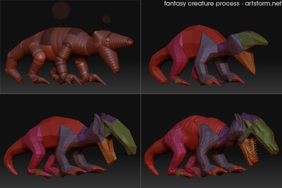 Fantasy Creature doodling in ZBrush - Process