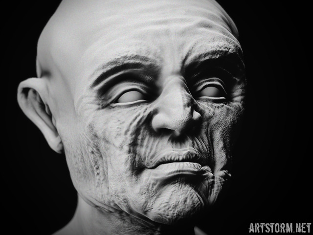 Head sculpt with contrast